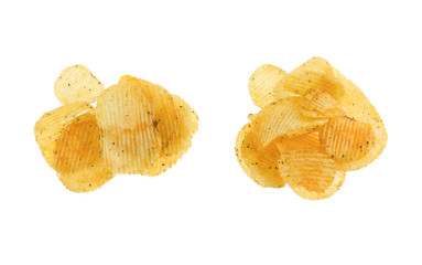 two heap potato chips isolated on white