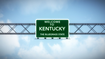 Kentucky USA State Welcome to Highway Road Sign