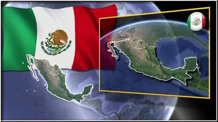 México flag and map animation