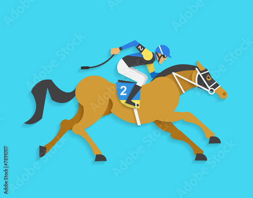 Fototapeta jockey riding race horse number 2, Vector illustration