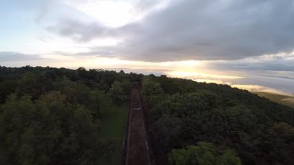 Aerial shot of Phanomrung castle Historical Park in Thailand