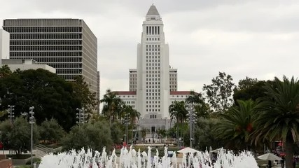 Los Angeles City Hall and Fountain - Daytime