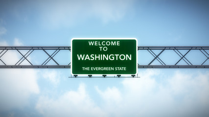 Washington USA State Welcome to Highway Road Sign