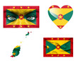 Set of various Grenada flags