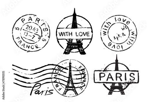 Eiffel Tower stamp - 78910515