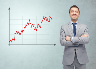 happy smiling businessman in suit with forex chart