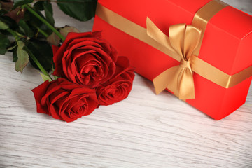 Red roses with gift box.Image of Valentines day