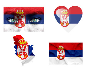 Set of various Serbia flags