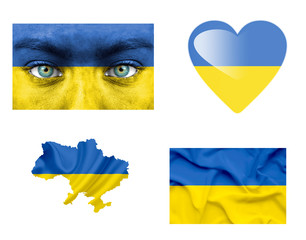 Set of various Ukraine flags