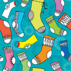 Colorful collection of funny socks. Seamless pattern