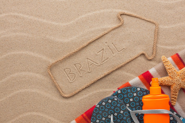 Brazil  pointer and beach accessories lying on the sand