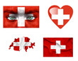 Set of various Switzerland flags