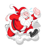 Running Cartoon Santa