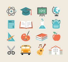 Education Icons in Flat Design Style