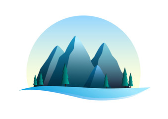 Snow maountains illustration