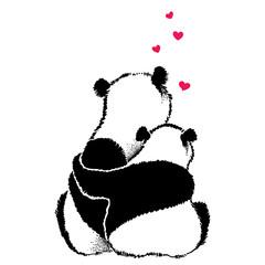 Hand drawn illustration of panda couple in love