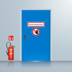 Brandmeldeanlage, BMZ Tür mit Feuerlöscher