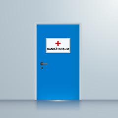 Tür zum Sanitätsraum, Arztzimmer, Hintergrund