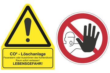 Schilder für CO2 Löschanlagen, isoliert