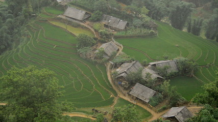 Time Lapse of Scenic Hmong Rice Village in the Northern Mountains - Sapa Vietnam