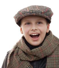 kid fun scarf cap accessories portrait isolated white
