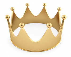 Golden crown isolated on a white background. High resolution 3D