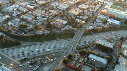 Aerial View of Freeway / Highway / Suburbs -Los Angeles