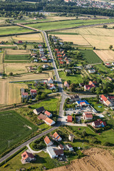 aerial view of sliwice  village near Otmuchow town