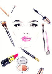 makeup artist. woman portrait  .fashion background