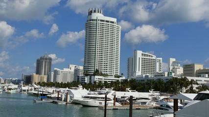 Miami scene with boats 4k uhd video