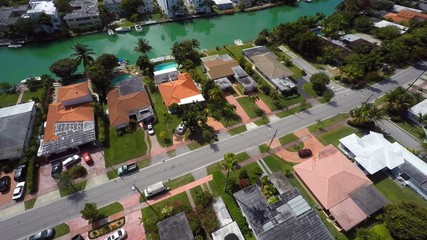 Homes in Miami Beach aerial video 4k