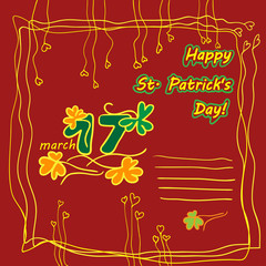 Irish st patrick day party card  and place for text.