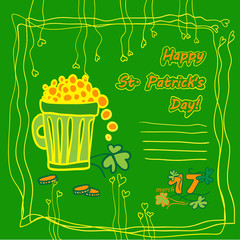 Irish st patrick day party card  and place for text