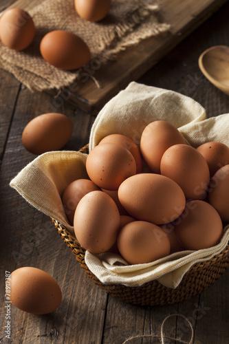Leinwanddruck Bild Raw Organic Brown Eggs