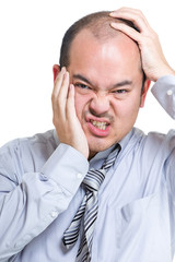 Businessman suffer from toothache and headache