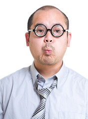 Businessman with funny face expression