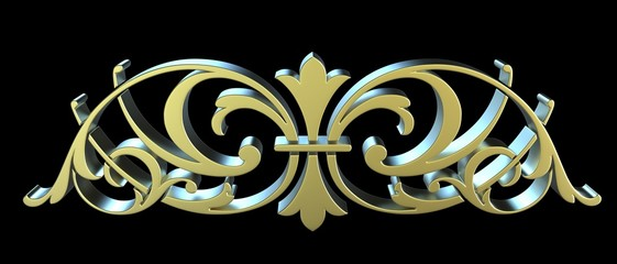 Golden forged floral ornament