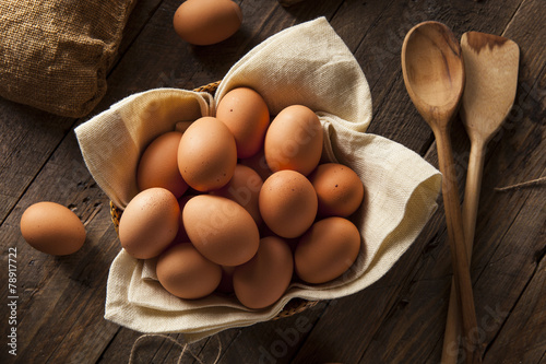 Fotobehang Egg Raw Organic Brown Eggs