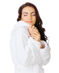 Young girl with bathrobe