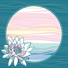 Vintage round frame with waterlilies on a turquoise background