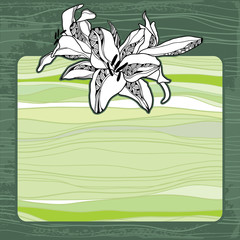 Vintage frame with lilies on a dark green background