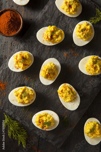 Homemade Spicy Deviled Eggs - 78918156