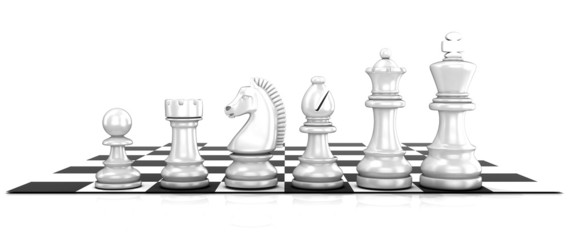 Chess white pieces, standing on board. Isolated on white