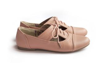 Pair of female shoe on white background