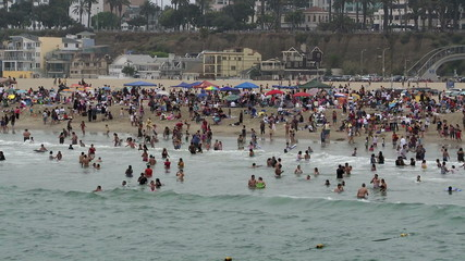 Time Lapse of Crowded Beach in Santa Monica California