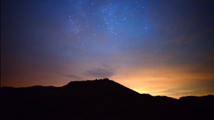 Time Lapse of Mountain Range at Night
