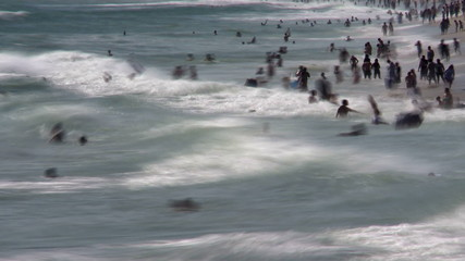 Crowded Beach in Santa Monica California - Time Lapse