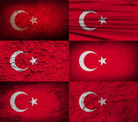 Set of 6 flags of Turkey with old texture. Vector