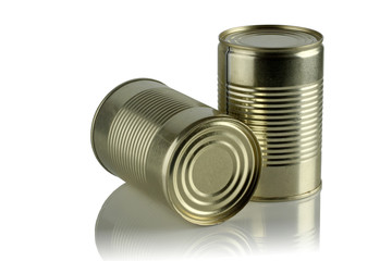 Two tin cans.