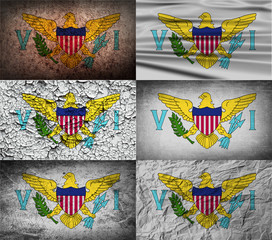 Set of 6 flags of Virgin Islands US with old texture. Vector